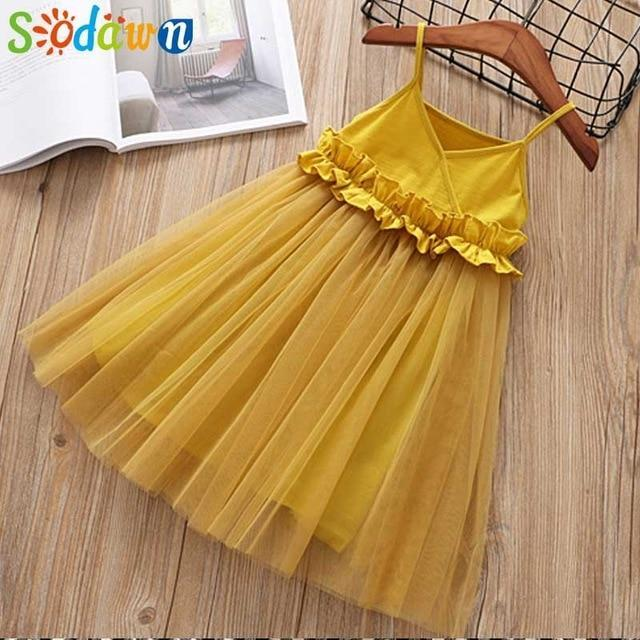 Sodawn Spring Summer Childrens Clothing Baby Girl Princess Dress Lace Short Sleeve Flower-Dresses-Sodawn Store-BL1113-Yellow-2T-EpicWorldStore.com