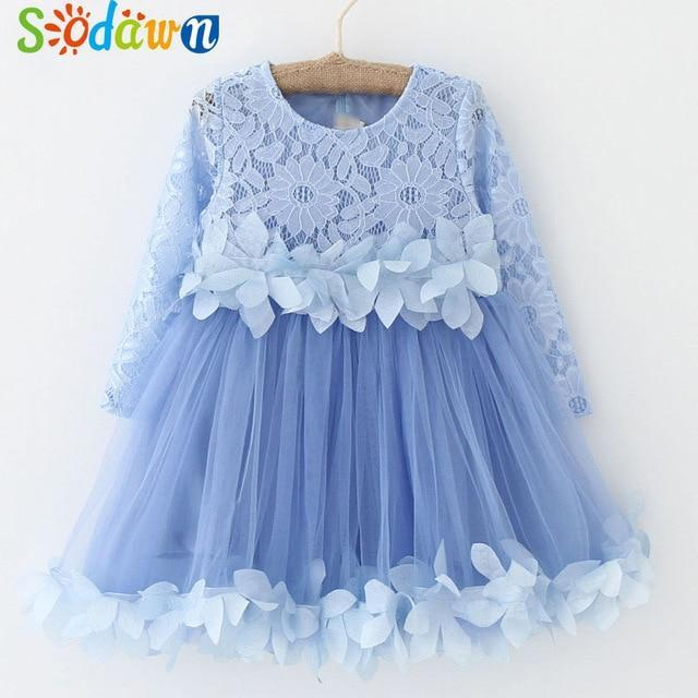 Sodawn Spring Summer Childrens Clothing Baby Girl Princess Dress Lace Short Sleeve Flower-Dresses-Sodawn Store-BL865-Blue-2T-EpicWorldStore.com