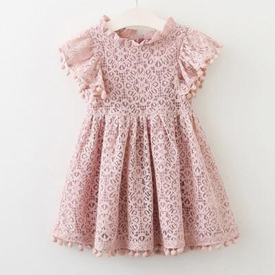 Sodawn Spring Summer Childrens Clothing Baby Girl Princess Dress Lace Short Sleeve Flower-Dresses-Sodawn Store-BL912-pink-2T-EpicWorldStore.com