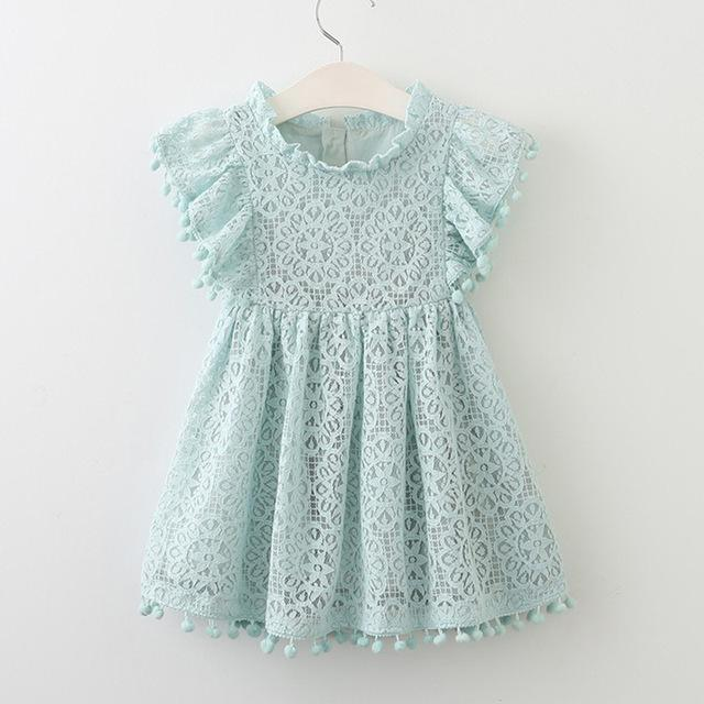 Sodawn Spring Summer Childrens Clothing Baby Girl Princess Dress Lace Short Sleeve Flower-Dresses-Sodawn Store-BL912-sky blue-2T-EpicWorldStore.com