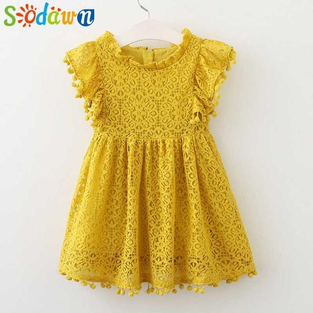 Sodawn Spring Summer Childrens Clothing Baby Girl Princess Dress Lace Short Sleeve Flower-Dresses-Sodawn Store-BL912-yellow-2T-EpicWorldStore.com