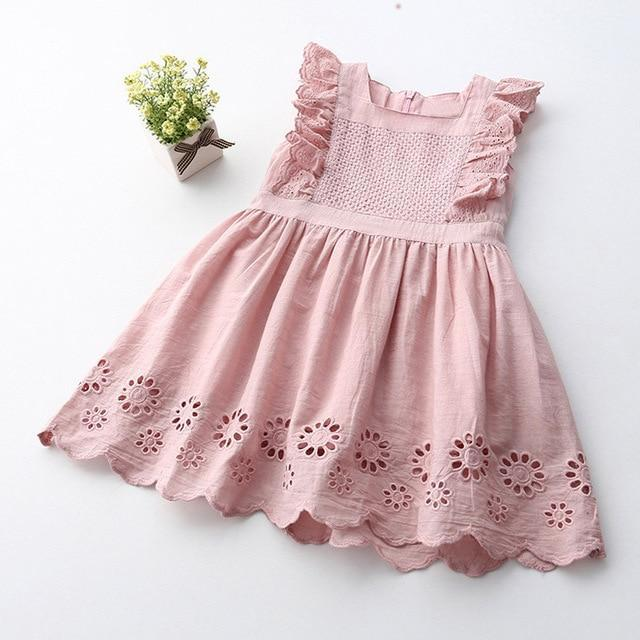 Sodawn Spring Summer Childrens Clothing Baby Girl Princess Dress Lace Short Sleeve Flower-Dresses-Sodawn Store-BN080-Pink-2T-EpicWorldStore.com