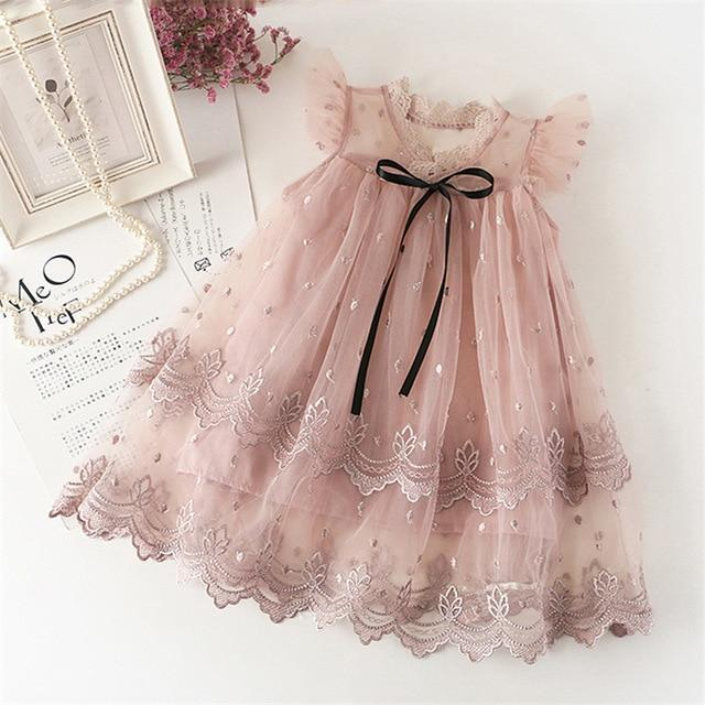 Sodawn Spring Summer Childrens Clothing Baby Girl Princess Dress Lace Short Sleeve Flower-Dresses-Sodawn Store-BN449-Pink-2T-EpicWorldStore.com