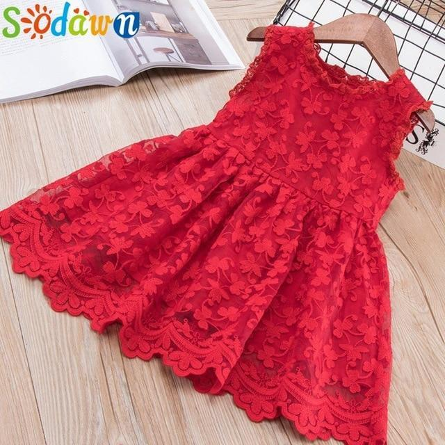 Sodawn Spring Summer Childrens Clothing Baby Girl Princess Dress Lace Short Sleeve Flower-Dresses-Sodawn Store-BN514-Red-2T-EpicWorldStore.com