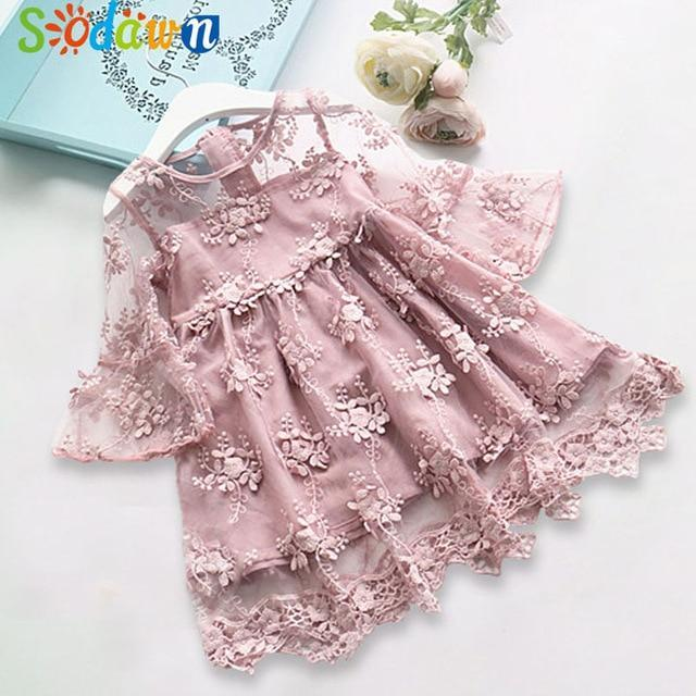 Sodawn Spring Summer Childrens Clothing Baby Girl Princess Dress Lace Short Sleeve Flower-Dresses-Sodawn Store-BT857-Pink-2T-EpicWorldStore.com