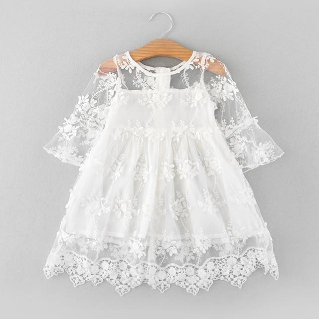 Sodawn Spring Summer Childrens Clothing Baby Girl Princess Dress Lace Short Sleeve Flower-Dresses-Sodawn Store-BT857-White-2T-EpicWorldStore.com