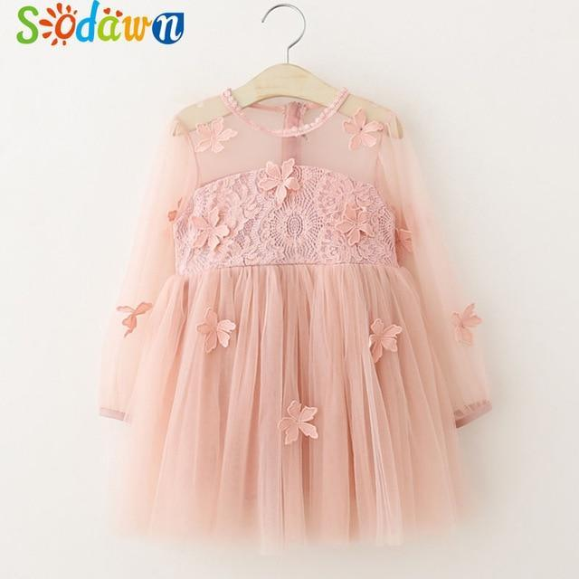 Sodawn Spring Summer Childrens Clothing Baby Girl Princess Dress Lace Short Sleeve Flower-Dresses-Sodawn Store-BT960-Pink-2T-EpicWorldStore.com