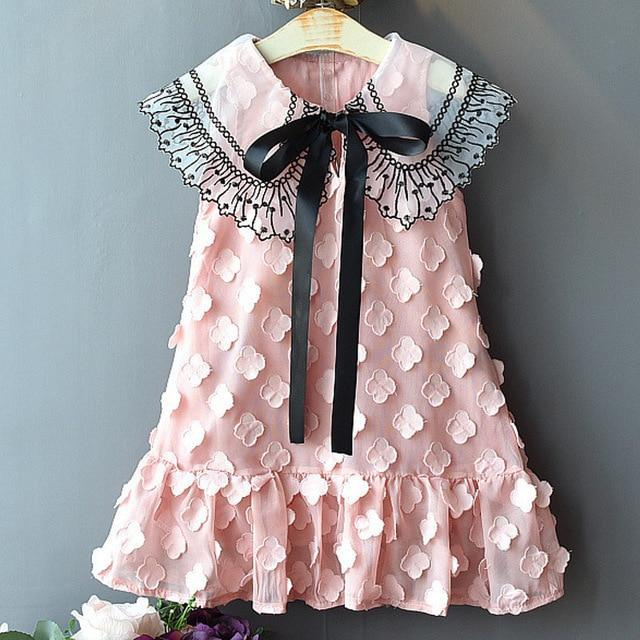 Sodawn Spring Summer Childrens Clothing Baby Girl Princess Dress Lace Short Sleeve Flower-Dresses-Sodawn Store-BZ289-Pink-2T-EpicWorldStore.com