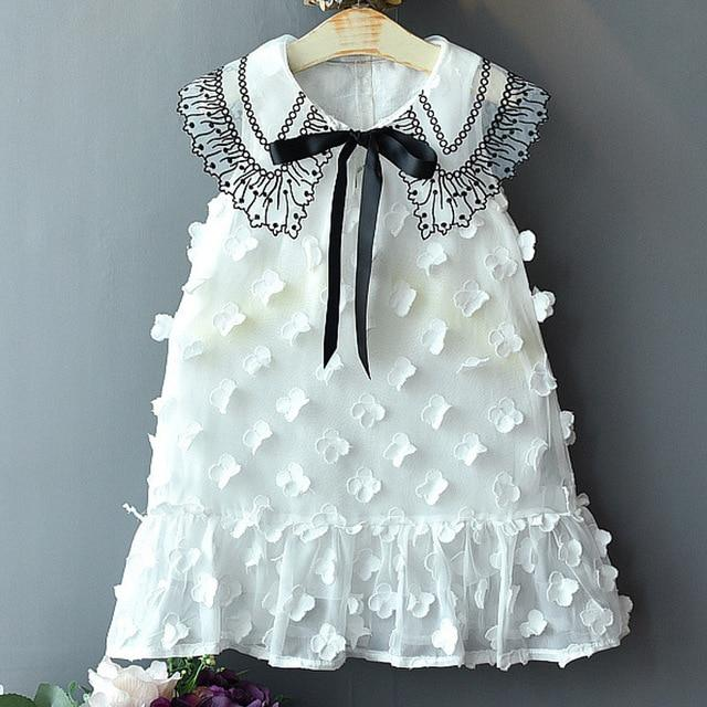 Sodawn Spring Summer Childrens Clothing Baby Girl Princess Dress Lace Short Sleeve Flower-Dresses-Sodawn Store-BZ289-White-2T-EpicWorldStore.com
