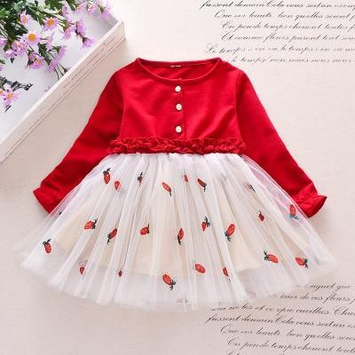 Spring Autumn Toddler Girl Dress Cotton Long Sleeve Toddler Dress Floral Bow Kids Dresses For-Dresses-Shop5120116 Store-Army Green-2T-EpicWorldStore.com