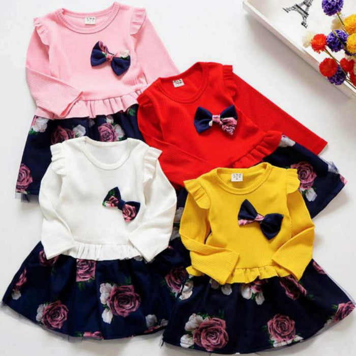 Spring Autumn Toddler Girl Dress Cotton Long Sleeve Toddler Dress Floral Bow Kids Dresses For-Dresses-Shop5120116 Store-Black-2T-EpicWorldStore.com