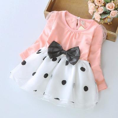 Spring Autumn Toddler Girl Dress Cotton Long Sleeve Toddler Dress Floral Bow Kids Dresses For-Dresses-Shop5120116 Store-Blue-2T-EpicWorldStore.com