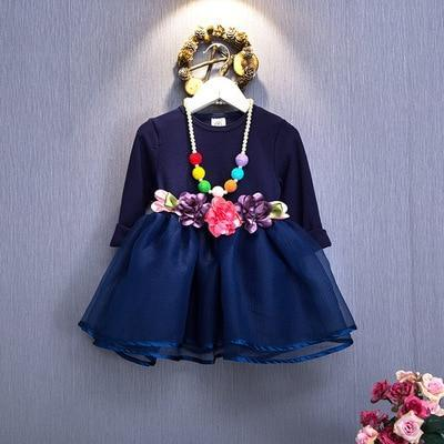 Spring Autumn Toddler Girl Dress Cotton Long Sleeve Toddler Dress Floral Bow Kids Dresses For-Dresses-Shop5120116 Store-Gold-2T-EpicWorldStore.com