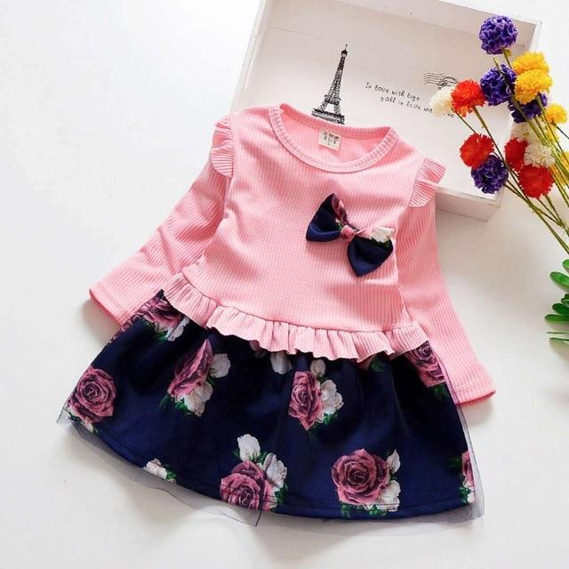 Spring Autumn Toddler Girl Dress Cotton Long Sleeve Toddler Dress Floral Bow Kids Dresses For-Dresses-Shop5120116 Store-Pink-2T-EpicWorldStore.com