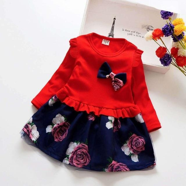 Spring Autumn Toddler Girl Dress Cotton Long Sleeve Toddler Dress Floral Bow Kids Dresses For-Dresses-Shop5120116 Store-Red-2T-EpicWorldStore.com