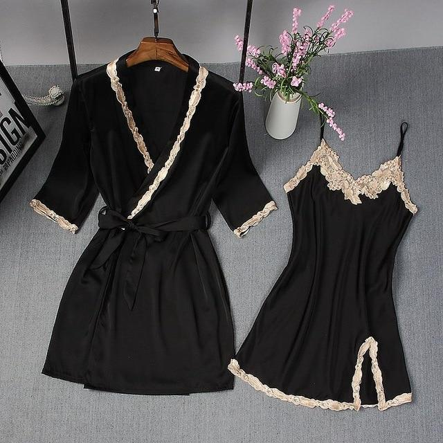 Spring Summer New Women Robe Suit Bride Wedding 2Pcs Kimono Bathrobe Gown Sexy Elegant Nightdress-Robes-Chinese tradition Costume-Black A-M-EpicWorldStore.com