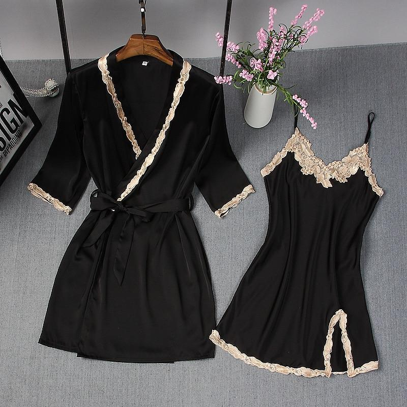Spring Summer New Women Robe Suit Bride Wedding 2Pcs Kimono Bathrobe Gown Sexy Elegant Nightdress-Robes-Chinese tradition Costume-Black-M-EpicWorldStore.com