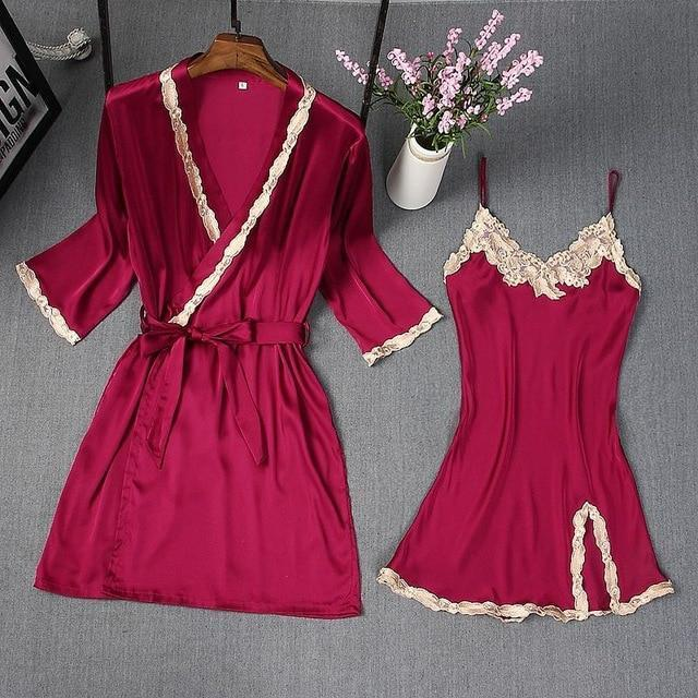Spring Summer New Women Robe Suit Bride Wedding 2Pcs Kimono Bathrobe Gown Sexy Elegant Nightdress-Robes-Chinese tradition Costume-Burgundy A-M-EpicWorldStore.com