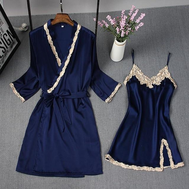 Spring Summer New Women Robe Suit Bride Wedding 2Pcs Kimono Bathrobe Gown Sexy Elegant Nightdress-Robes-Chinese tradition Costume-Navy Blue A-M-EpicWorldStore.com