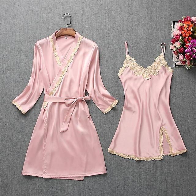Spring Summer New Women Robe Suit Bride Wedding 2Pcs Kimono Bathrobe Gown Sexy Elegant Nightdress-Robes-Chinese tradition Costume-Pink A-M-EpicWorldStore.com