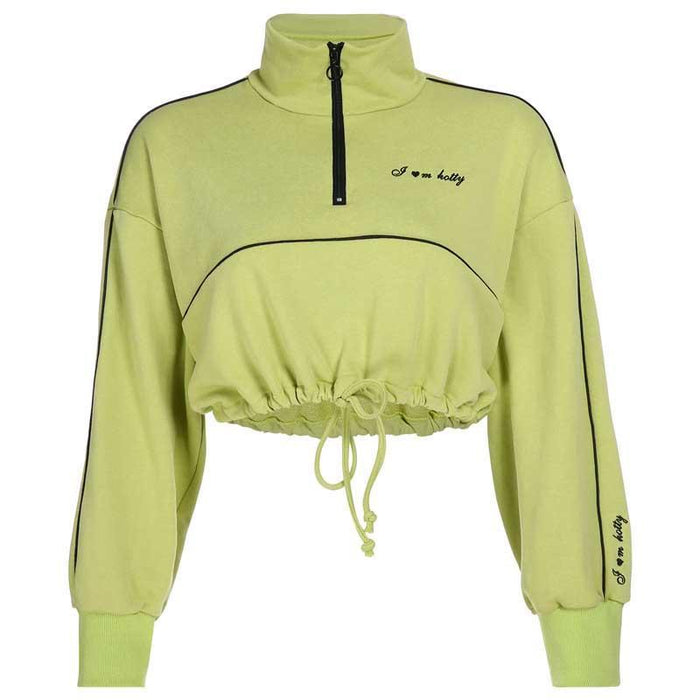Streetwear Fashion Womens Sweatshirt Zipper Letter Long Sleeve Drawstring Crop Top Casual New Skinny-Home-Showcool Store-Green-S-EpicWorldStore.com