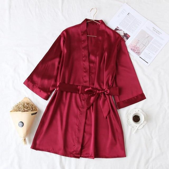 Summer Champagne Chinese Bride Wedding Robe Satin Sleepwear Women Nightgown Sexy Nightdress Lady-Robes-Ethnic Style Boutiques-Burgundy-One Size-EpicWorldStore.com