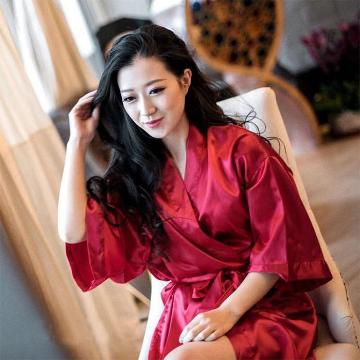 Summer Champagne Chinese Bride Wedding Robe Satin Sleepwear Women Nightgown Sexy Nightdress Lady-Robes-Ethnic Style Boutiques-Dark Blue-One Size-EpicWorldStore.com