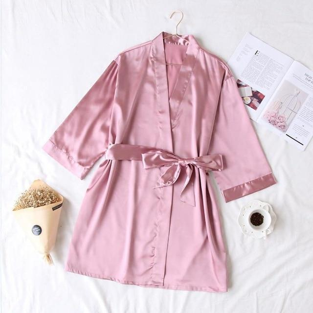 Summer Champagne Chinese Bride Wedding Robe Satin Sleepwear Women Nightgown Sexy Nightdress Lady-Robes-Ethnic Style Boutiques-Pink-One Size-EpicWorldStore.com