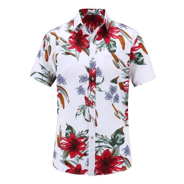 Summer Male Short Sleeve Shirt Casual Hawaii Mens Dress Shirts Camisa Masculina Men Clothing-Casual Shirts-Alex fashion store-JS070-PR004-S-EpicWorldStore.com