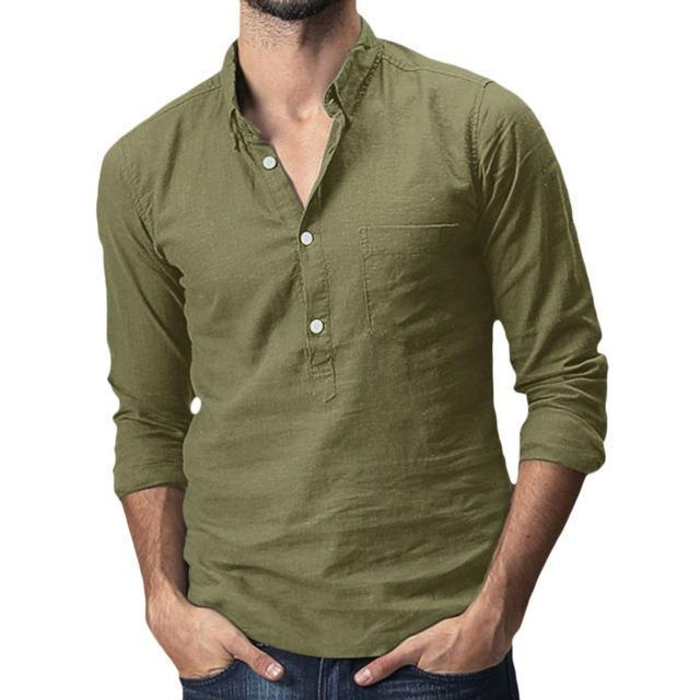 Summer Mens Baggy Cotton Linen Solid Multi Pocket Short Sleeve Turn Down Collar Shirts Hawaiian-Casual Shirts-JiuKou Store-Army Green-M-EpicWorldStore.com