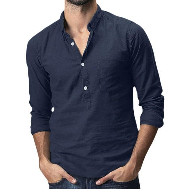 Summer Mens Baggy Cotton Linen Solid Multi Pocket Short Sleeve Turn Down Collar Shirts Hawaiian-Casual Shirts-JiuKou Store-Navy-M-EpicWorldStore.com