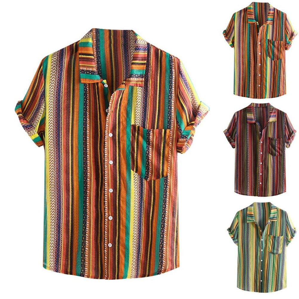 Summer Plus Size Men Ethnic Printed Stand Collar Colorful Stripe Short Sleeve Loose Shirt Camisa-Casual Shirts-JiuKou Store-Green-M-EpicWorldStore.com