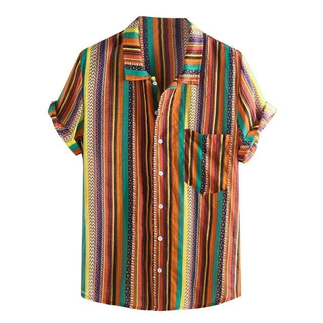 Summer Plus Size Men Ethnic Printed Stand Collar Colorful Stripe Short Sleeve Loose Shirt Camisa-Casual Shirts-JiuKou Store-Orange-M-EpicWorldStore.com