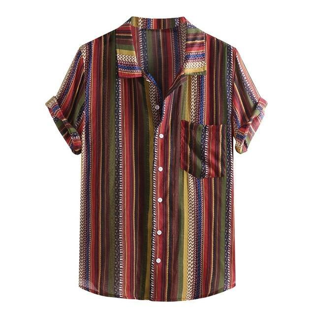 Summer Plus Size Men Ethnic Printed Stand Collar Colorful Stripe Short Sleeve Loose Shirt Camisa-Casual Shirts-JiuKou Store-Red-M-EpicWorldStore.com