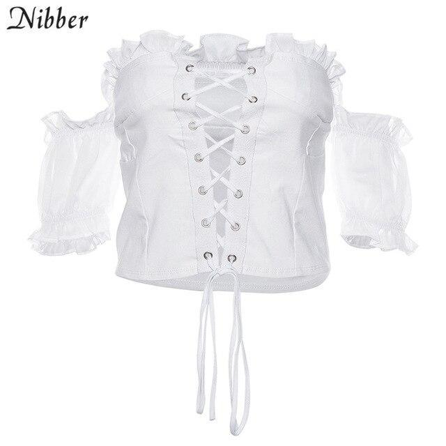 Summer Sexy Hollow Club Wear Crop Top Womens Tshirts Fashion Office Ladies Elegant Off Shoulder-T-Shirts-NIBBER Official Store-White-S-EpicWorldStore.com