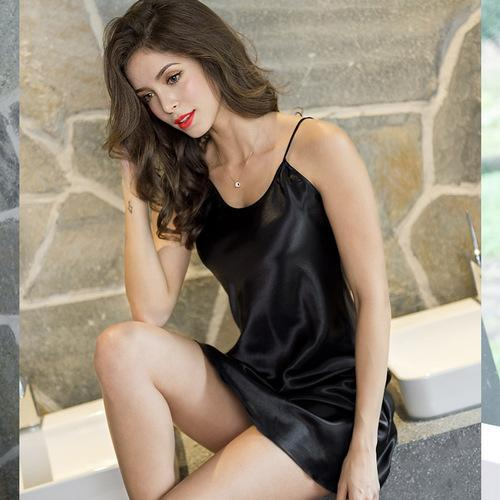 Summer Sexy Ice Silk Condole Belt Nightgown Adult Sex Appeal Simulation Silk Home Sleeping Dress-Nightgowns & Sleepshirts-QISHA Man's world Store-Black-M-EpicWorldStore.com