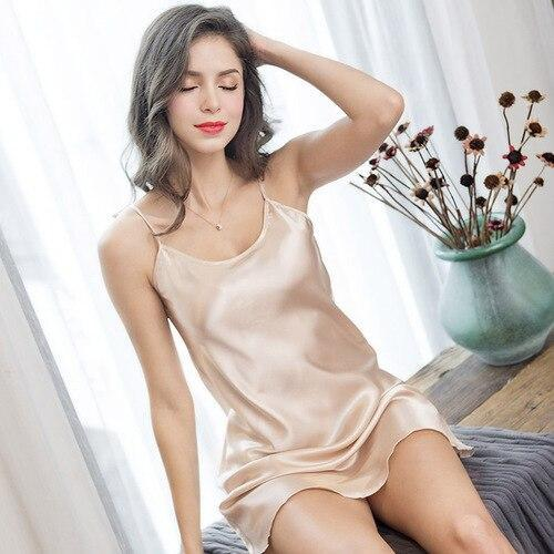 Summer Sexy Ice Silk Condole Belt Nightgown Adult Sex Appeal Simulation Silk Home Sleeping Dress-Nightgowns & Sleepshirts-QISHA Man's world Store-Champagne-M-EpicWorldStore.com