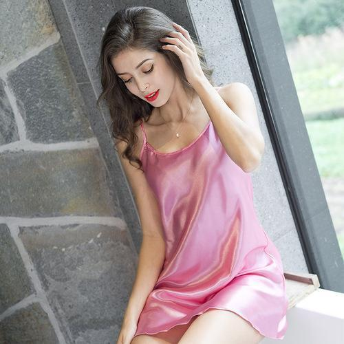 Summer Sexy Ice Silk Condole Belt Nightgown Adult Sex Appeal Simulation Silk Home Sleeping Dress-Nightgowns & Sleepshirts-QISHA Man's world Store-Pink-M-EpicWorldStore.com