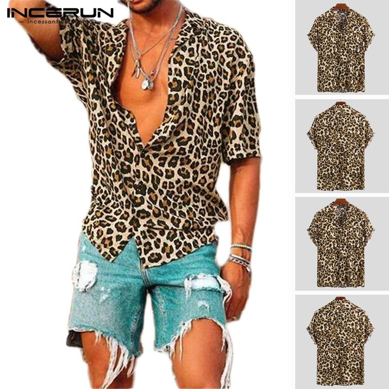 Summer Short Sleeve Leopard Print Shirt Men Lapel Neck Loose Button Up Blouse Breathable-Casual Shirts-Fighting!!! Store-Yelllow Shirt-S-EpicWorldStore.com