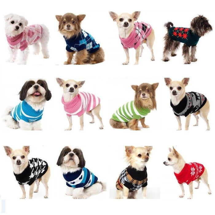 Sz Xs Xxl Free Ship Autumn Winter Various Lovely Puppy Pet Cat Dog Sweater Knitted Coat Apparel-Dog Sweaters-Petalk Store-Pink Plaid-XS Chest28cmBack17-EpicWorldStore.com