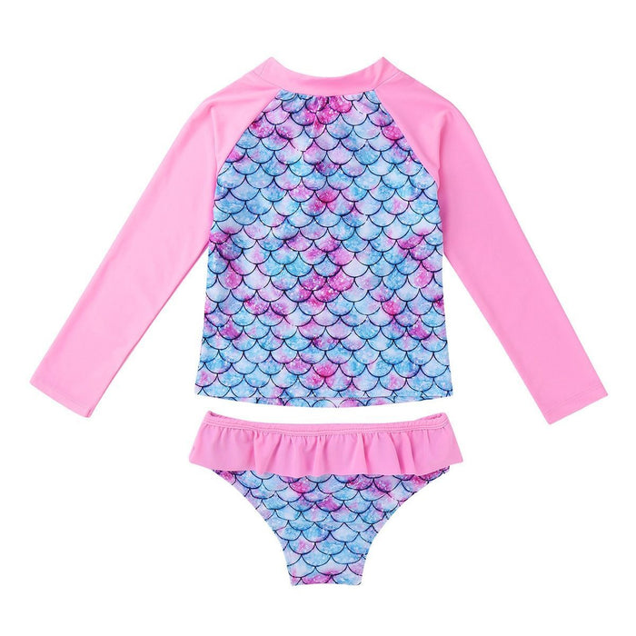 Tiaobug Kids Girls Tankini Long Sleeve Mermaid Fish Scale Printed Rashguard Beach Swimwear-Children's Two-Piece Suits-TiaoBug AAAShowing Store-Cyan-3T-EpicWorldStore.com