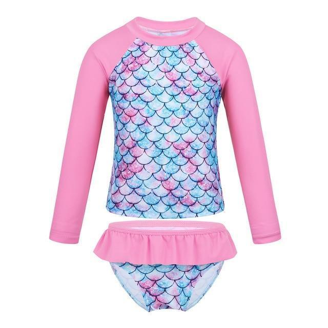 Tiaobug Kids Girls Tankini Long Sleeve Mermaid Fish Scale Printed Rashguard Beach Swimwear-Children's Two-Piece Suits-TiaoBug AAAShowing Store-Pink-3T-EpicWorldStore.com