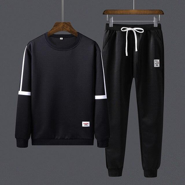 Track Suit Mens Sweatsuit Sports Suits Sportwear 2 Pieces Set Jogger Set Pattern Printed Tracksuit-Men's Sets-Tlothe Mens Store-29 black-M-EpicWorldStore.com