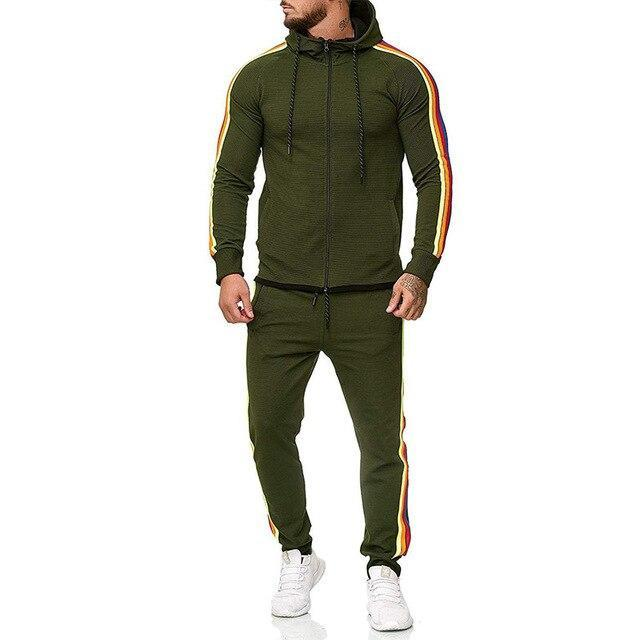 Two Piece Black Men Tracksuits Hoodies Fashion Brand Tracksuit For Men Sport Set Mens-Home-BLFXiang Men Store-Army green-M-EpicWorldStore.com