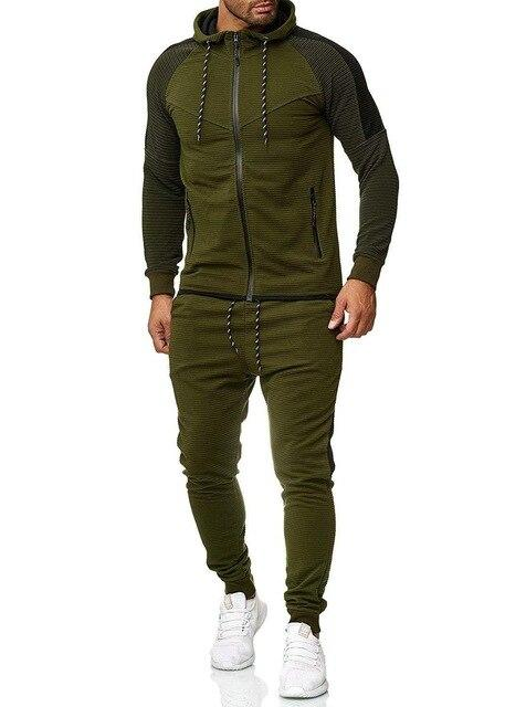 Two Piece Black Men Tracksuits Hoodies Fashion Brand Tracksuit For Men Sport Set Mens-Home-BLFXiang Men Store-Army green sets-M-EpicWorldStore.com