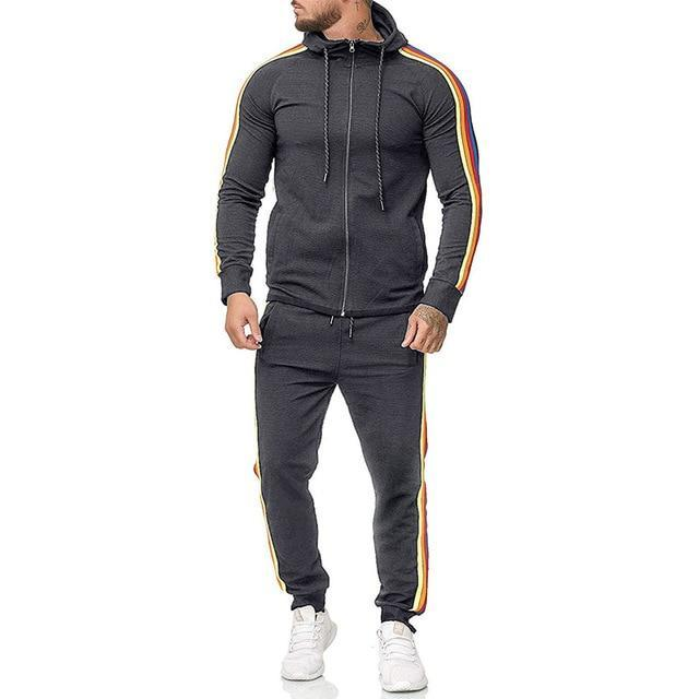 Two Piece Black Men Tracksuits Hoodies Fashion Brand Tracksuit For Men Sport Set Mens-Home-BLFXiang Men Store-dark grey-M-EpicWorldStore.com