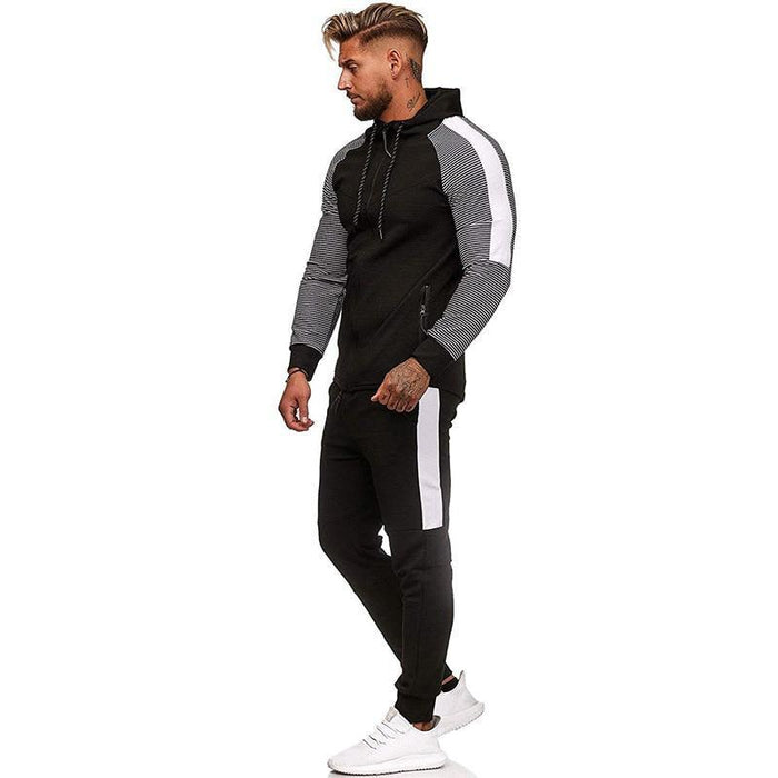 Two Piece Black Men Tracksuits Hoodies Fashion Brand Tracksuit For Men Sport Set Mens-Home-BLFXiang Men Store-Dark Grey white-M-EpicWorldStore.com