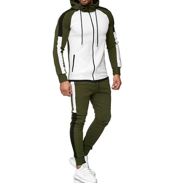Two Piece Black Men Tracksuits Hoodies Fashion Brand Tracksuit For Men Sport Set Mens-Home-BLFXiang Men Store-Green white-M-EpicWorldStore.com