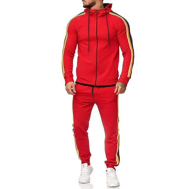 Two Piece Black Men Tracksuits Hoodies Fashion Brand Tracksuit For Men Sport Set Mens-Home-BLFXiang Men Store-Red-M-EpicWorldStore.com