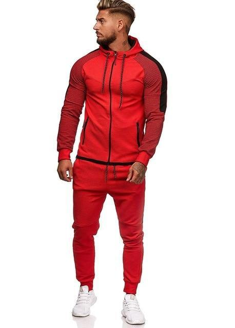 Two Piece Black Men Tracksuits Hoodies Fashion Brand Tracksuit For Men Sport Set Mens-Home-BLFXiang Men Store-red sets-M-EpicWorldStore.com
